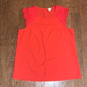 J. Crew lace sleeveless coral blouse